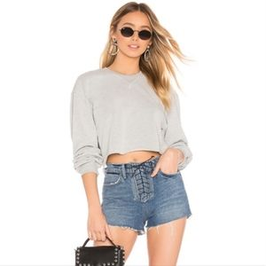 Lovers + Friends Denim Jack Lace Up Shorts NWT 24